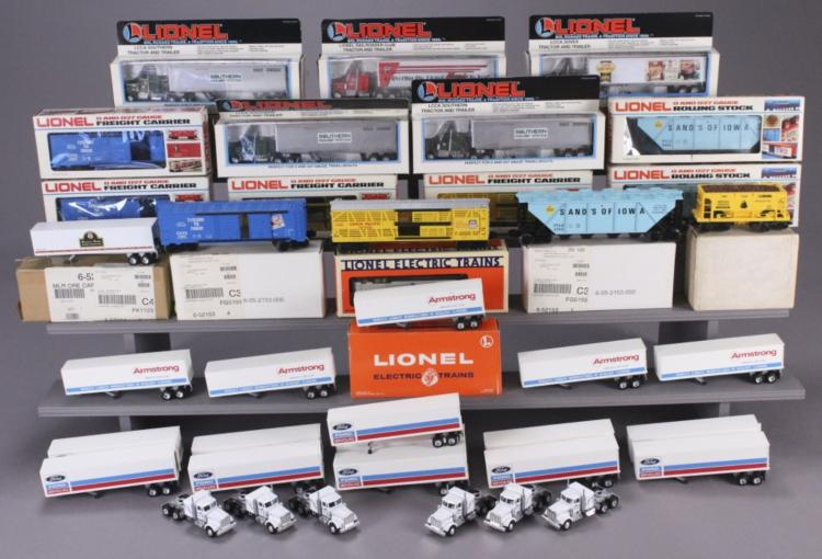 Lionel Assorted Tractor Trailers & Box Cars