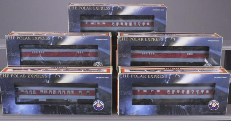 5 Lionel Polar Express Train Cars in Boxes