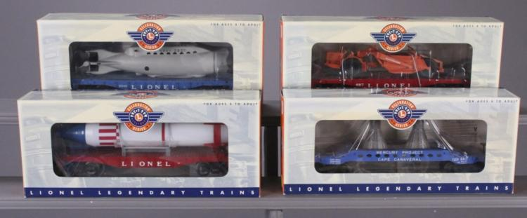 4 Lionel Flat Cars with Vehicle Loads in Boxes