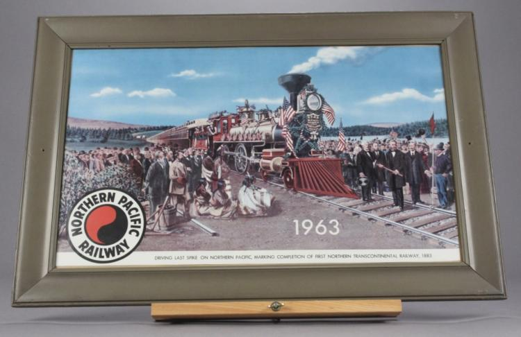 Northern Pacific Railway Framed Locomotive Artwork