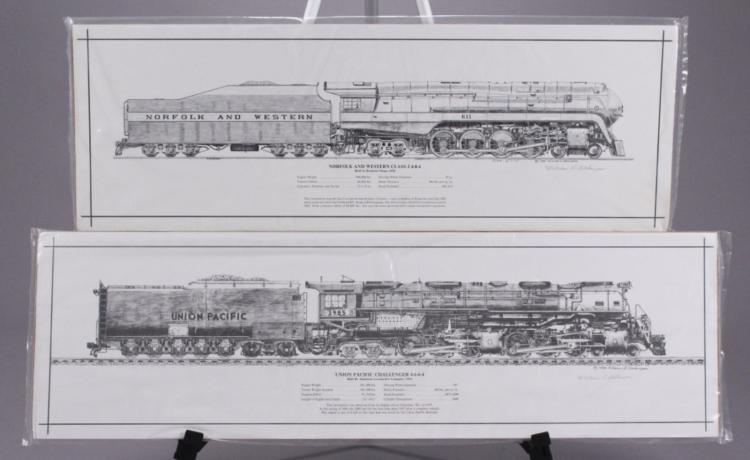 2 Locomotive Technical Drawing Art Prints