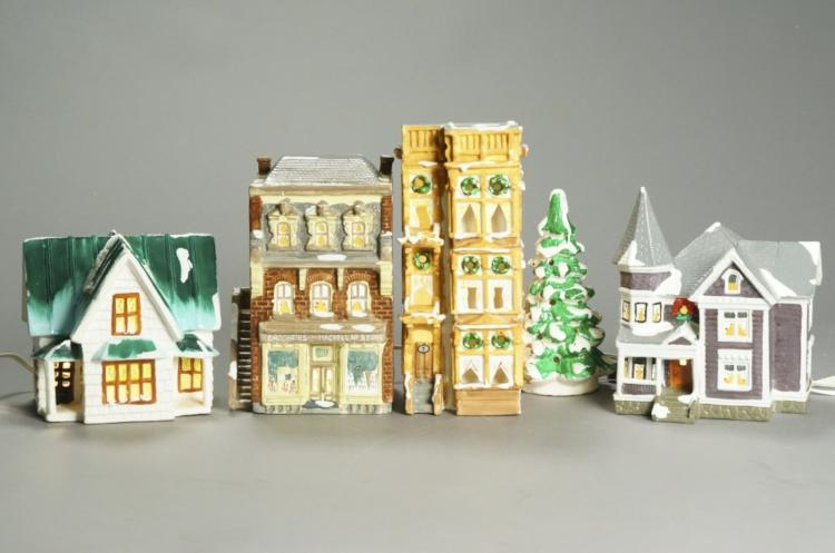 4 Department 56 Lighted Snow Village Buildings