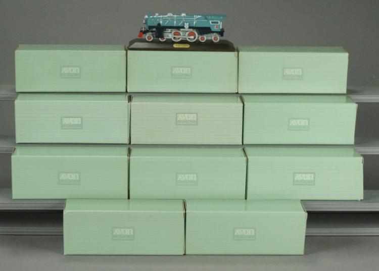12 Avon Porcelain Blue Comet Locos with Displays