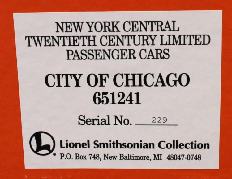 Lionel 6-51241 Smithsonian NYC City Of Chicago Car
