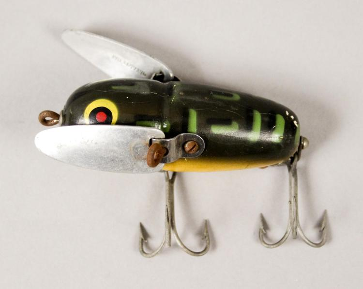 Vintage heddon crazy crawler bullfrog fishing lure for Most expensive fishing lure
