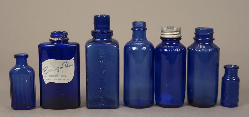 7 Assorted Blue Glass Vintage Medicine Bottles