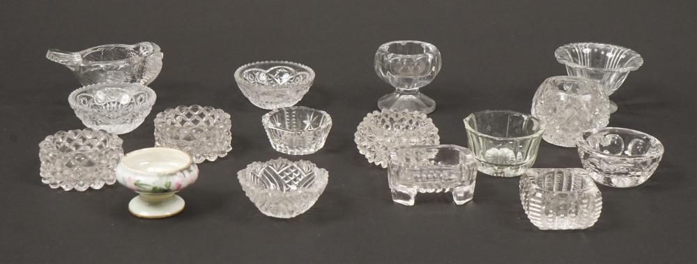 Assorted Cut Glass & Ceramic Salt Dippers