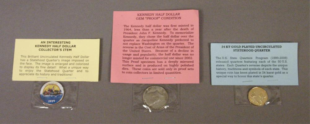 2 Kennedy Half Dollars & 24 KT Gold Plated Quarter