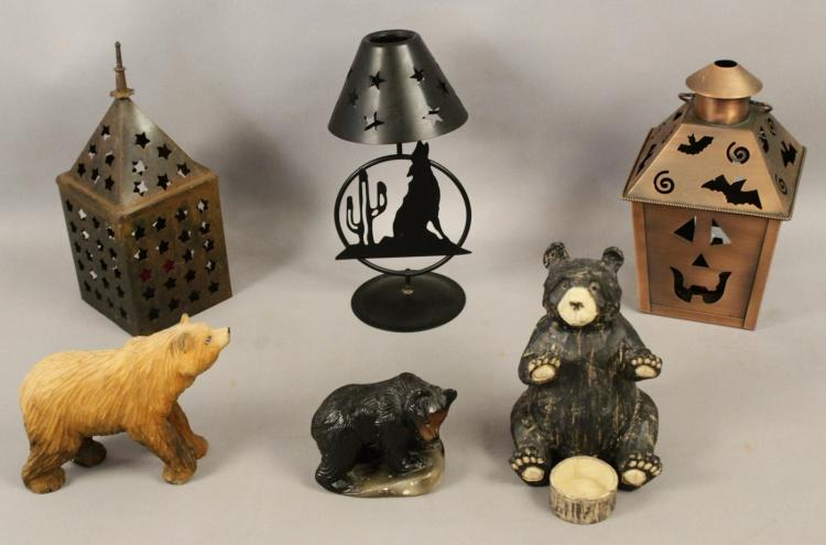 3 home decor candle holders bear figurines for Bear decorations for home