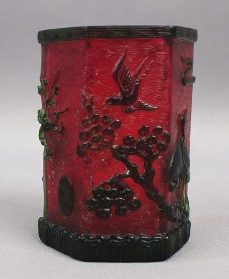 Exquisite Rare Peking Red Glass Brush Pot