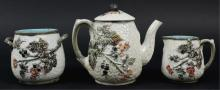 Majolica Blackberry Leaf Teapot Creamer Sugar Set