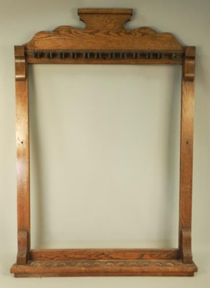 Antique Wood 12 Pool Cue Wall Rack