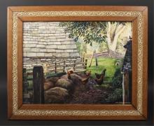 Carl N. Batternay Oil Painting Of Chicken Farm