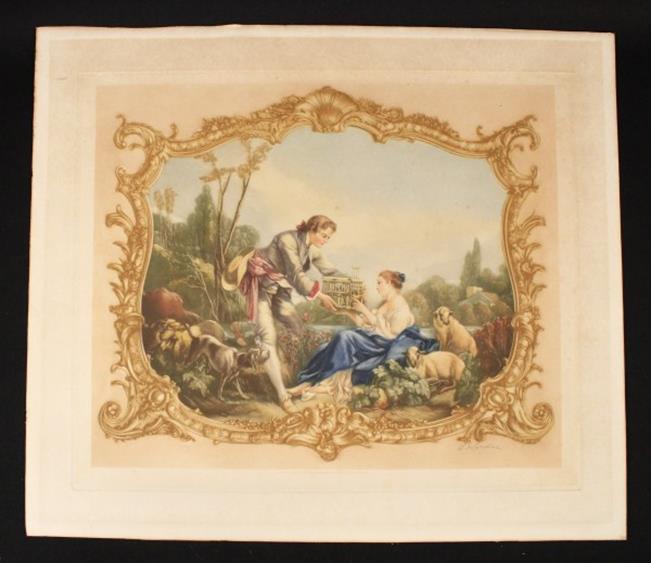 E. Wardee Victorian Scene Mezzotint