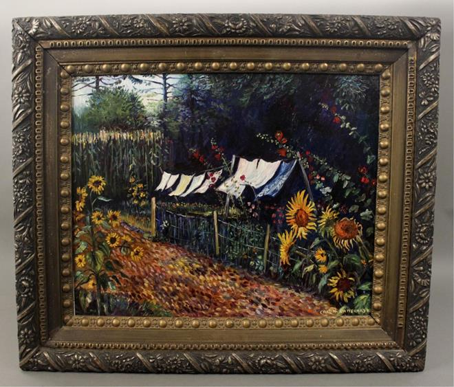 Carl N. Batternay Oil Painting of Sunflower Garden