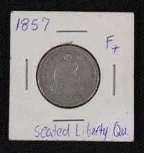 1857 Seat Liberty Quarter Silver Coin