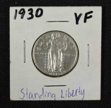 1930 Standing Liberty Silver Quarter Coin