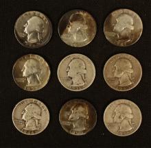 9 Vintage George Washington Quarters - Pre 1964