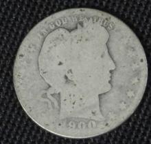 1900 Barber Half Dollar Silver Coin