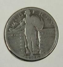 1928 Standing Liberty Silver Quarter Coin