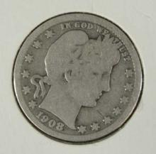 1908 D Silver Barber Quarter Coin