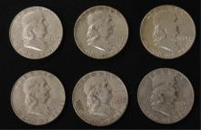6 - Ben Franklin 1963 Silver Half Dollar Coins