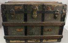 Dark Green / Brown Vintage Steamer Trunk with Key