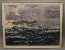 Charles Patterson Furling the Foresail - Print