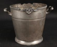 Silver Over Copper Metal Ice Bucket