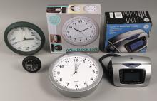 Assorted Clocks & Desktop Phone Clock