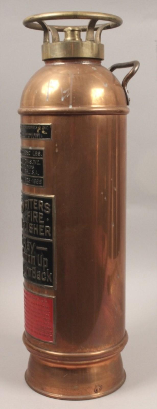 Antique Underwriters Labs Copper Fire Extinguisher
