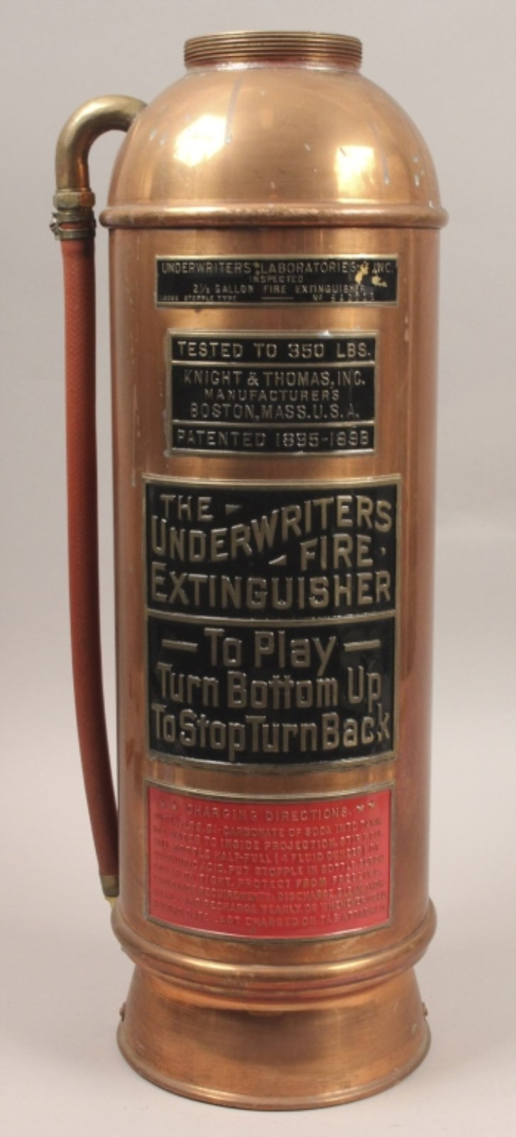 Antique Underwriters Labs Copper Fire Extinguisher