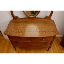 3 Drawer Tiger Oak Dresser with Oval Mirror
