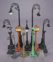 12 Lionel Assorted Prewar & Postwar Lamp Posts