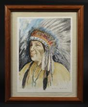 American Indian Chief Watercolor Art Painting