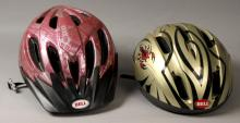 2 Child Size Bicycle Helmets With Bag