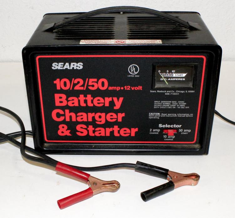 lot 599: sears 10/2/50 battery charger & starter