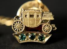 Fisher CTO Stage Coach Tie Pin 10K Gold 3 Emeralds