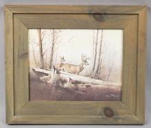 Wooden Framed Winter Wildlife Deer Scene