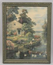 Antique Fishing Children Framed Litho