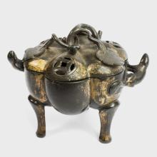 17th Century Japanese Gilt Bronze Tripod Incense Burner with Lotus