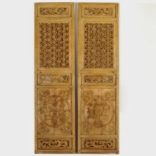 Pair of 19th Century Chinese Chainlink and Floral Lattice Panels