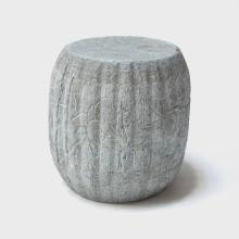 19th Century Chinese Floral Etched Melon Shape Limestone Stool