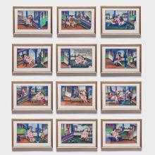 Set of Twelve Chinese Spring Palace Paintings