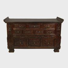 Chinese Carved Ten Drawer Chest