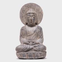 Japanese Hand Carved Buddha with Lotus Nimbus