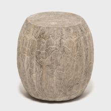 Chinese Floral Etched Melon Shape Limestone Drum