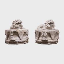 Pair of Chinese Reclining Stone Fu Dogs