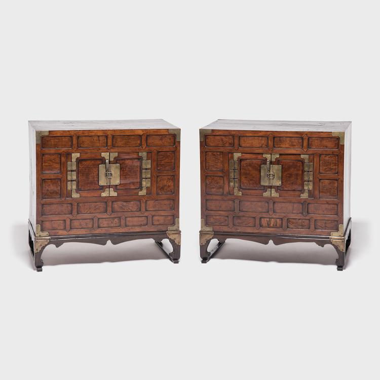 & Pair of Two Door Chests with Stands