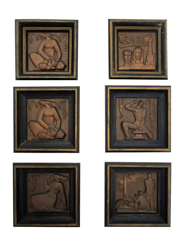 Set of six bronze wpa plaques depicting men at work for Asian antiques west palm beach